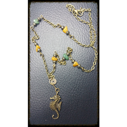 Antique Bronze Seahorse Necklace