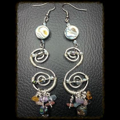 Wire Wrapped Swirl Earrings w/ Pearl & Quartz