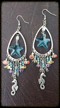 Swarovski Starfish & Coloured Stone Earrings