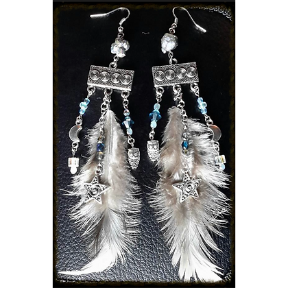 Grey/White Feather Night & Owl Themed Earrings