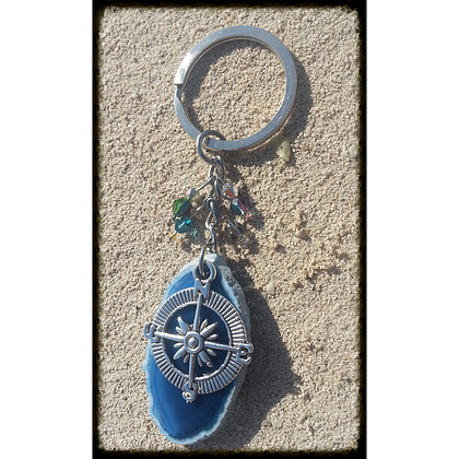 Compass Rose Agate Slice Keychain