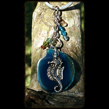 Seahorse  Agate Slice Keychain
