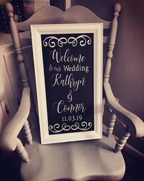Custom Designed & Framed Wedding Sign 12x24 $95