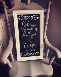 Custom Designed & Framed Wedding Sign 12x24 $95