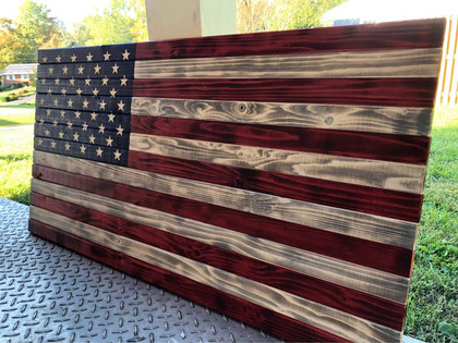 Burned & Carved American Flag