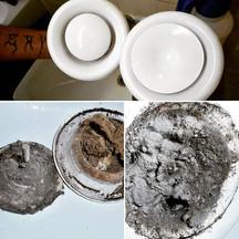 Vorher Nachher Bild, Staub verschmutzte Lüftungsventile vor und nach der Reinigung