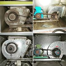 Vorher Nachher Bild, eines Fett verschmutzen Motor (Gastro)