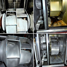 Grease removal in an exhaust air engine + engine compartment