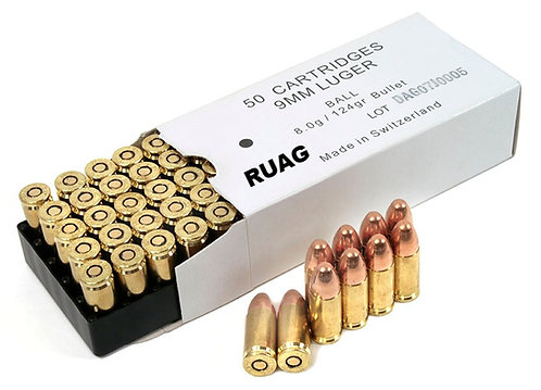 RUAG 9x19 124Gn FMJ (100 Rounds)