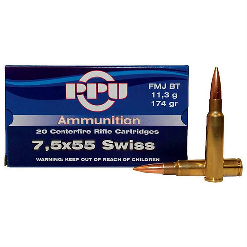 7,5x55 Swiss FMJ BT 174gr PPU Rifle Ammo Pack 100
