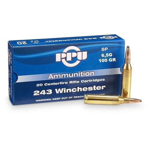 243 Winchester SP 100GR  PPU (100RDS)