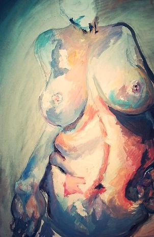 study of jenny saville's nude, acrylic on canvas