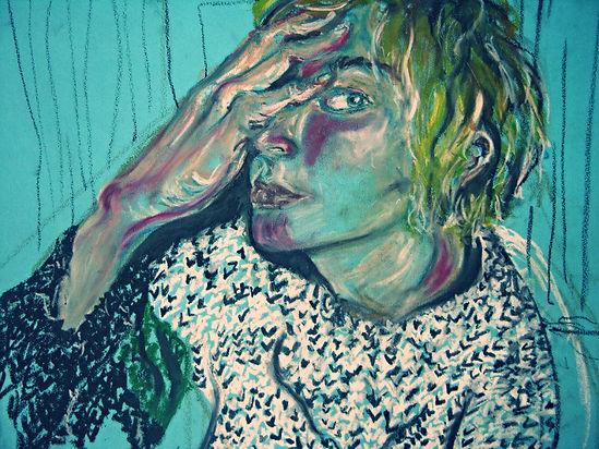self portrait- oil pastel