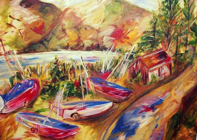 blessington lake, acrylic on canvas