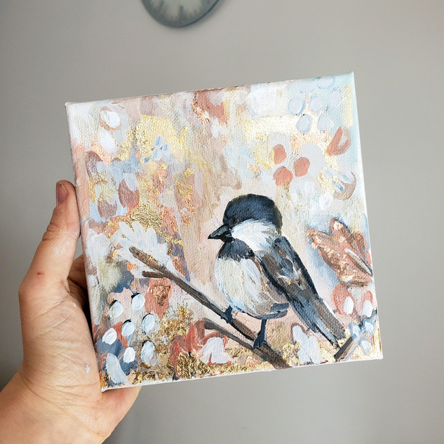 Abstract Chickadee Painting