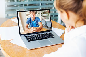 video call. woman and man talking on web