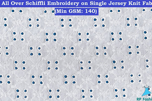 All Over Eyelet Embroidery on Single Jersey Knit Fabric
