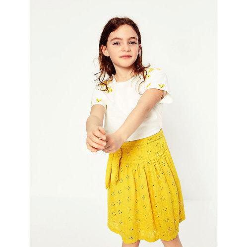 Gingham Embroidery Midi Skirt