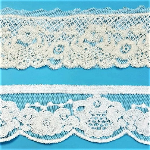 Floral lace in mesh fabric