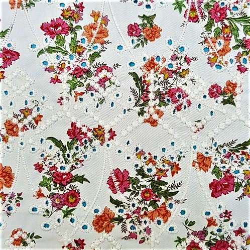 Eyelet English embroidery on floral printed fabrics