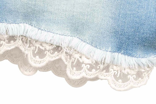 Mesh lace used as hem in Denim Shorts