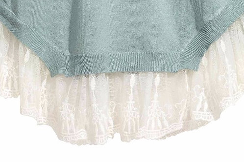 Mesh lace used as hem in Cardigan