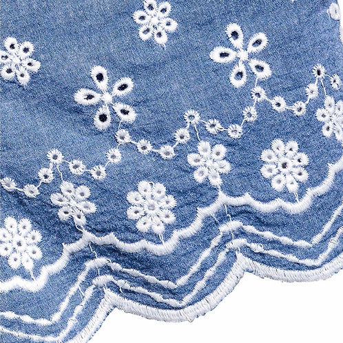 Scalloped Embroidered lace Used in Denim Shorts