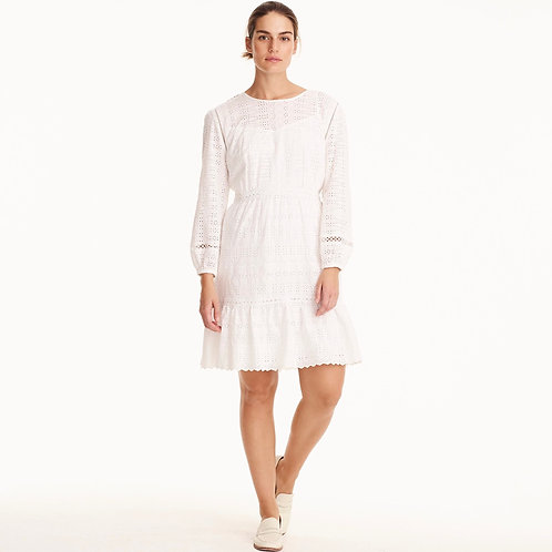 Eyelet flutter hem dress