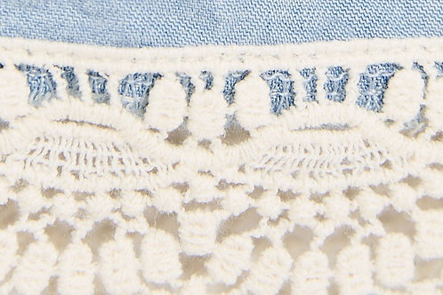 Water Soluble Trim Lace used in Denim Bermuda Shorts
