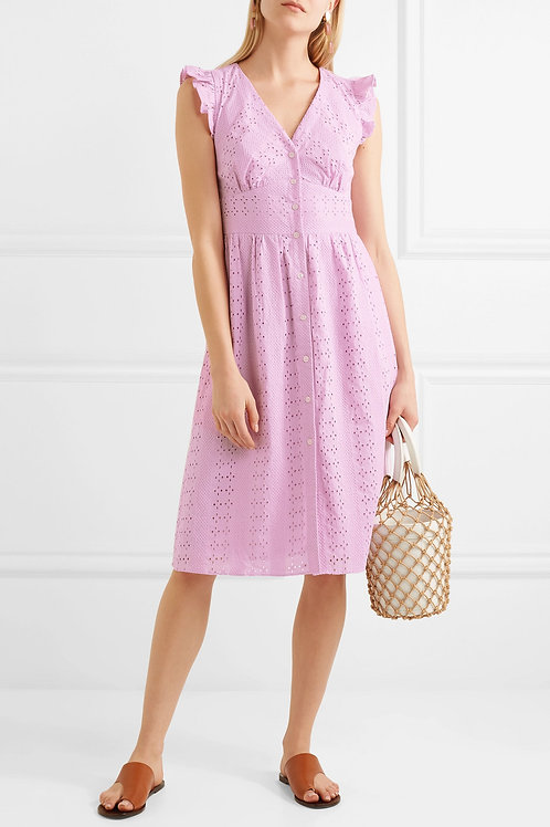 Point sur ruffle sleeve eyelet dress