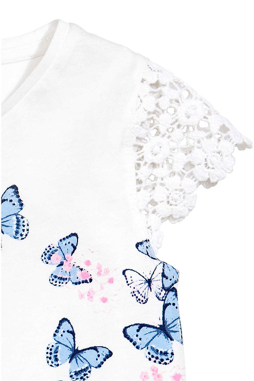 Top with Water Soluble Polyester Lace Sleeve