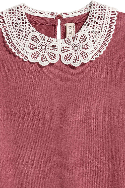 Water Soluble Lace used as Collar for Fine-knit top
