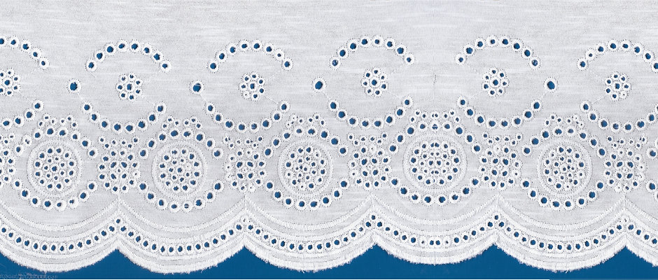 Embroidery Lace on Single Jersey Knit Fabric