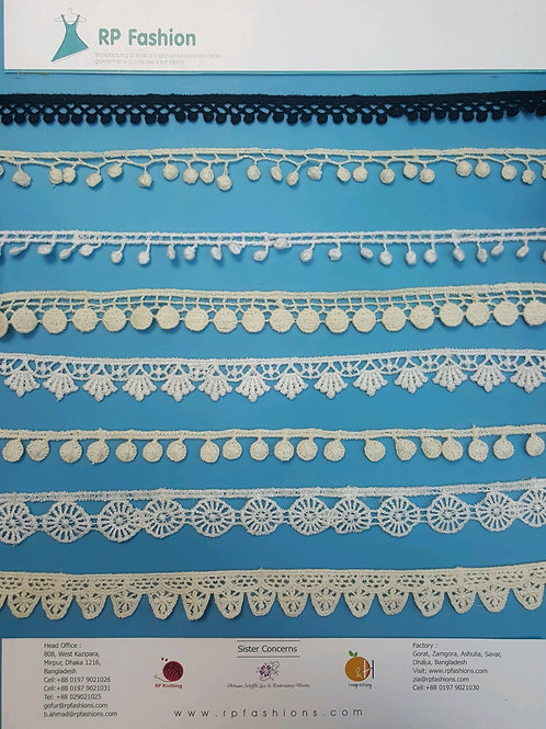 Pompom lace with cotton and polyester