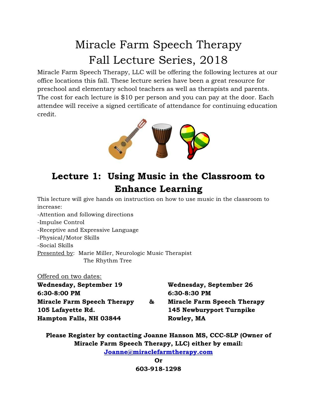Music Therapy Fall Lecture Series Music Therapist Rhythm And