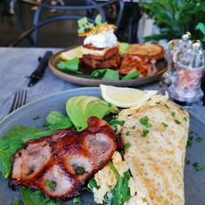 Veggie stack & Breakfast Crepe w/Bacon & Avo