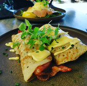 Eggs Benedict Crepes w/Bacon