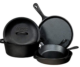 Lodge cast iron non toxic fluoride free cookware pots and pans