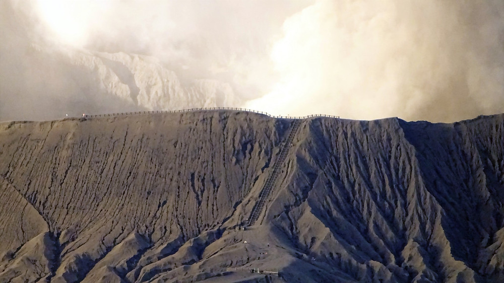 Stairs to the crater rim of Mount Bromo