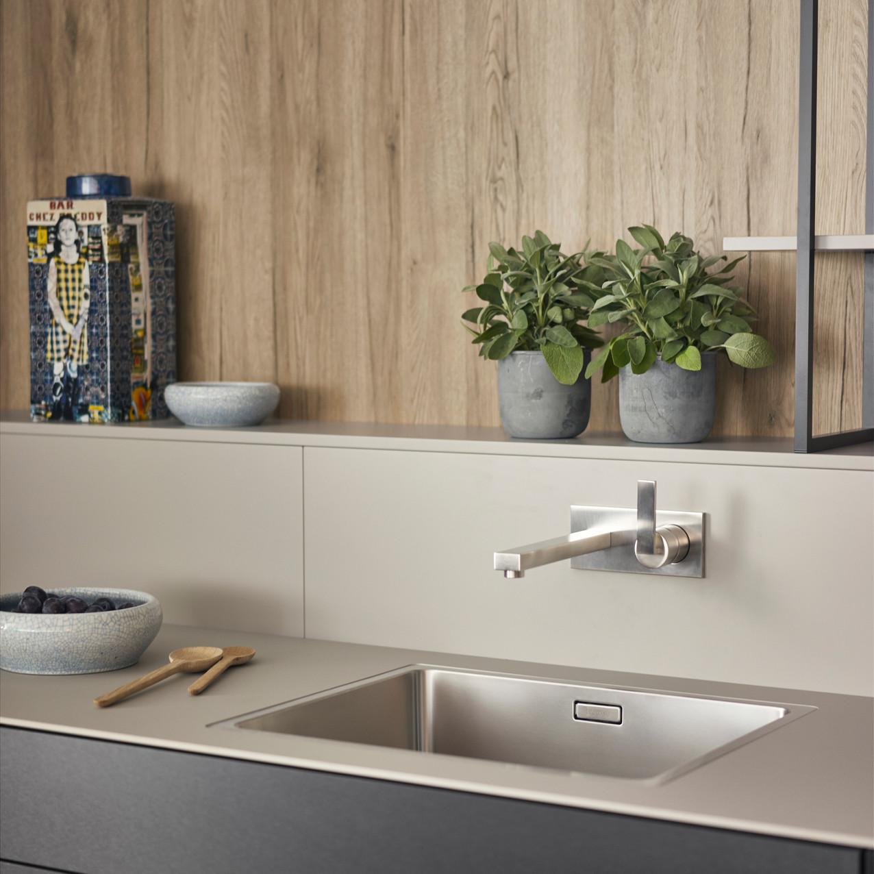 Leicht Metea metallic finish sink cabinet