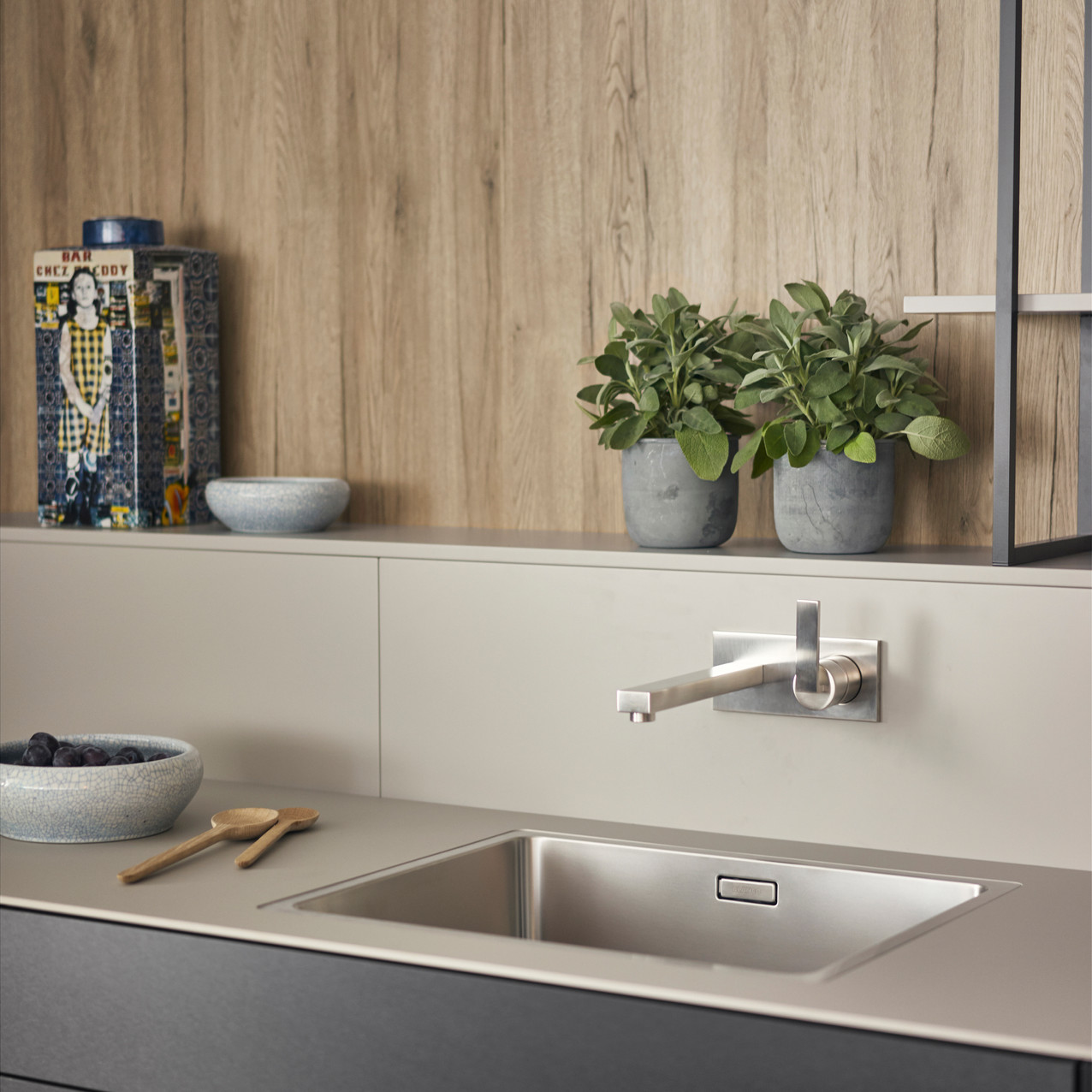 Leicht Metea metallic finish sink cabinet