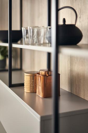 Leicht Metea metallic finish shelf unit