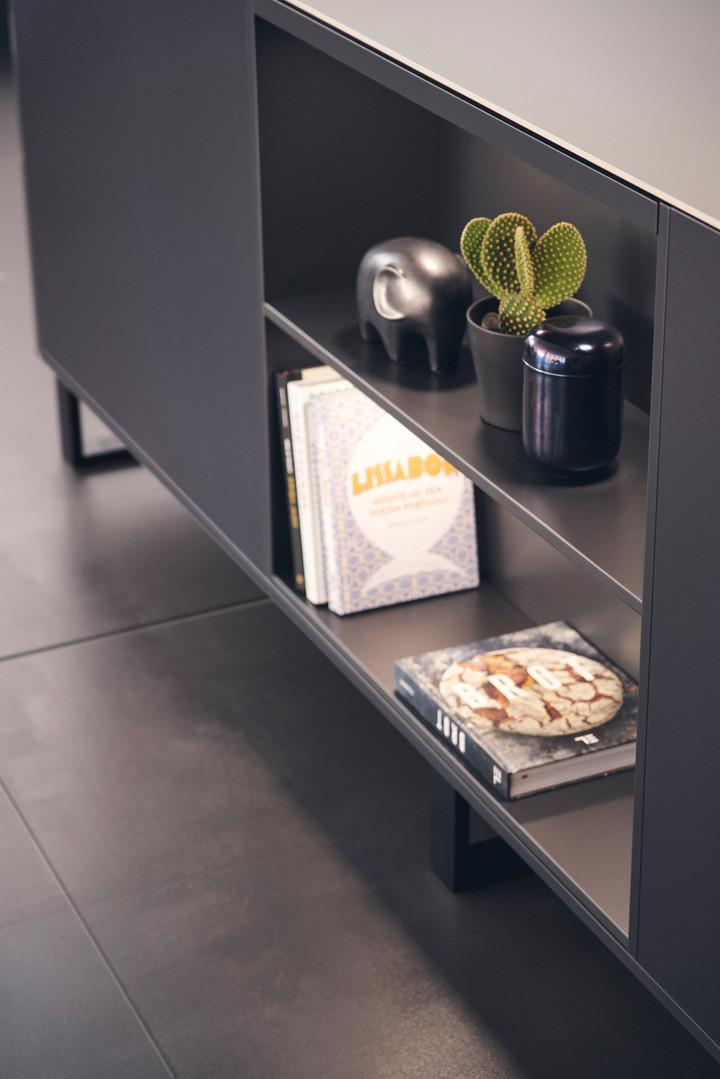 Leicht Metea metallic finish base open cabinet