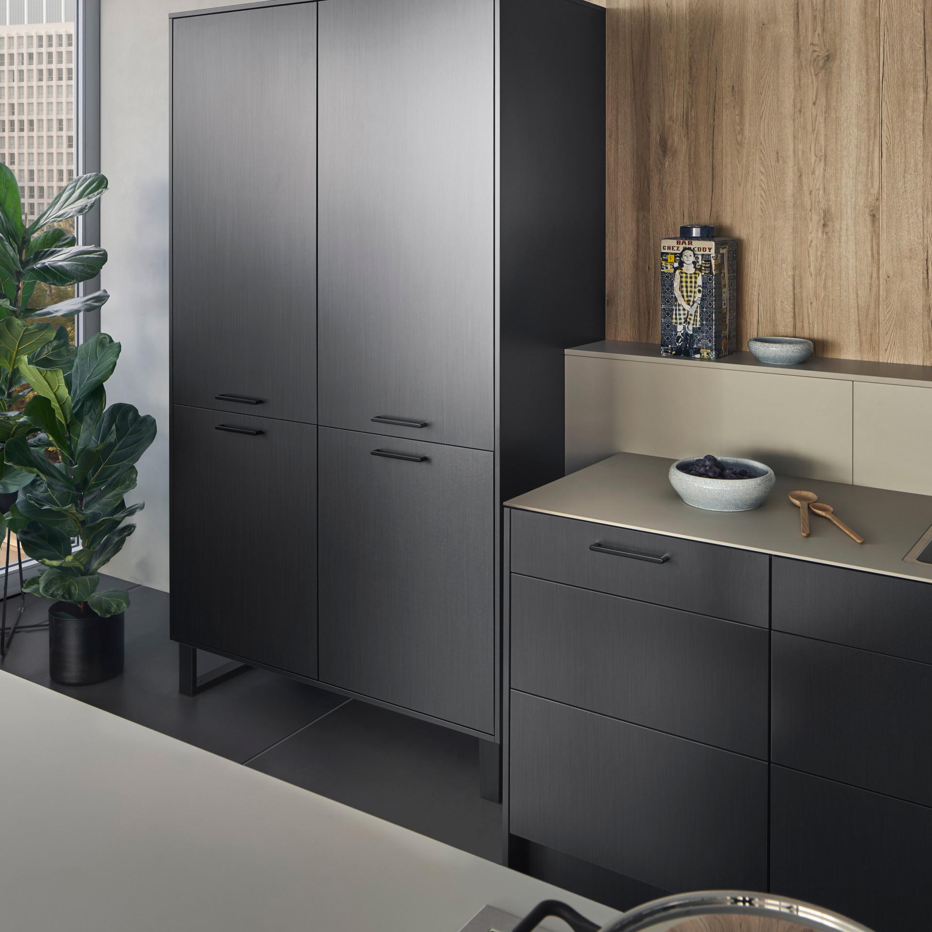 Leicht Metea metallic finish pantry cabinet