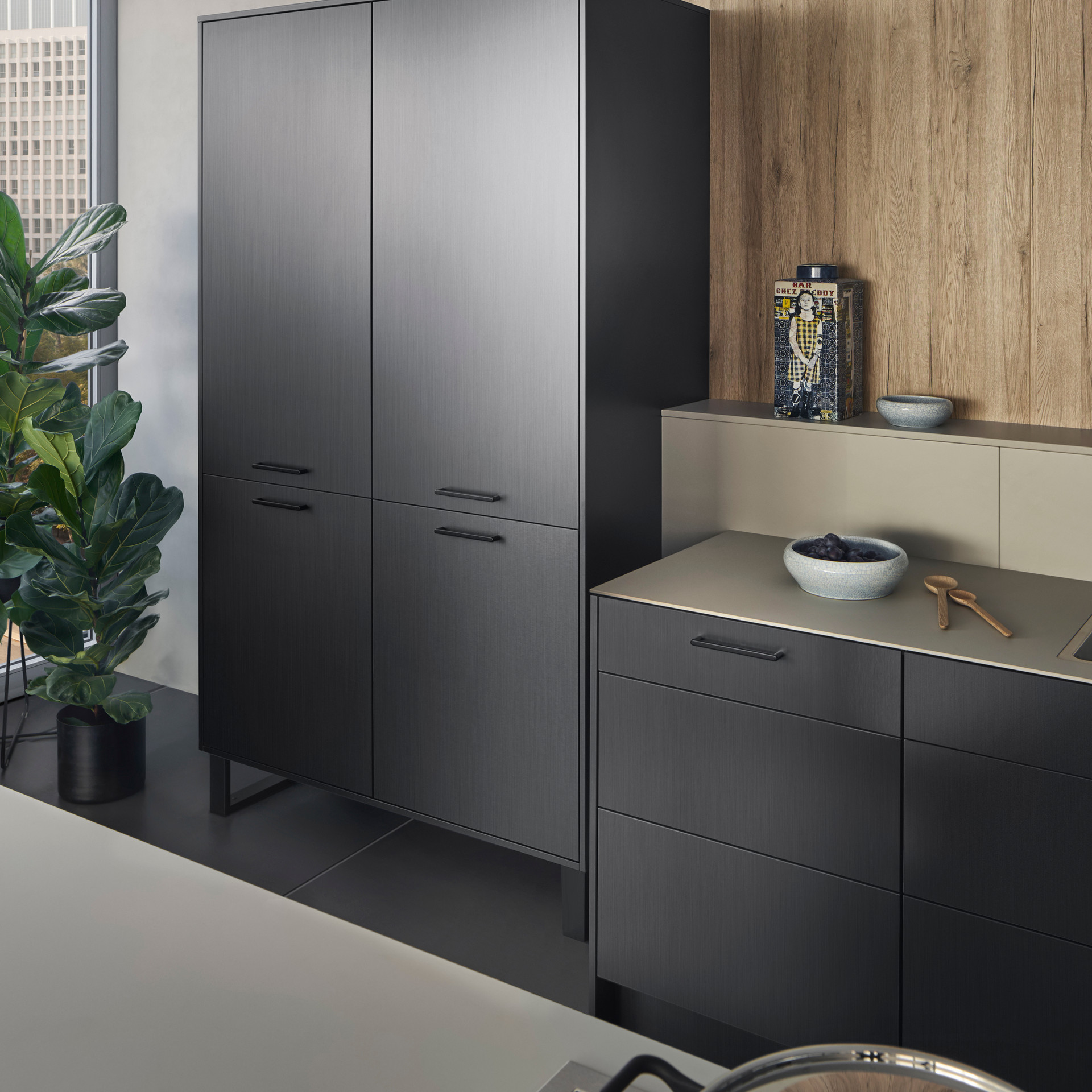 Leicht Metea metallic finish pantry cabinet