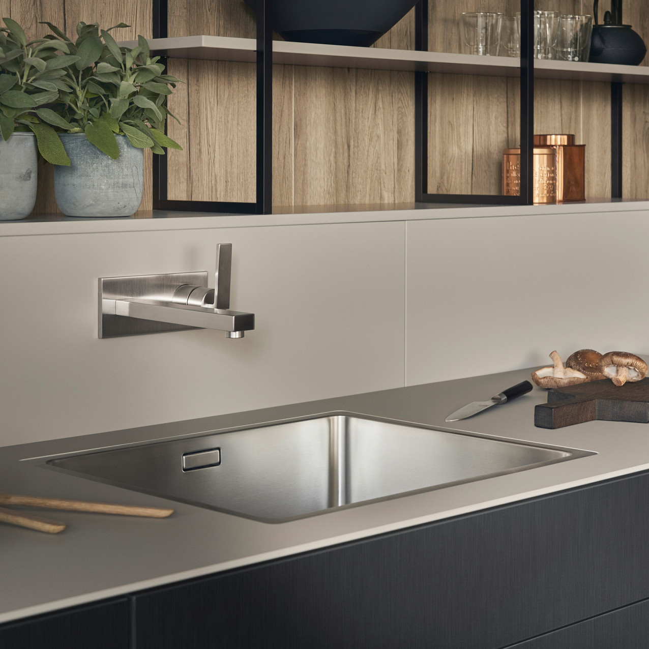 Leicht Metea metallic finish sink cabinet 5