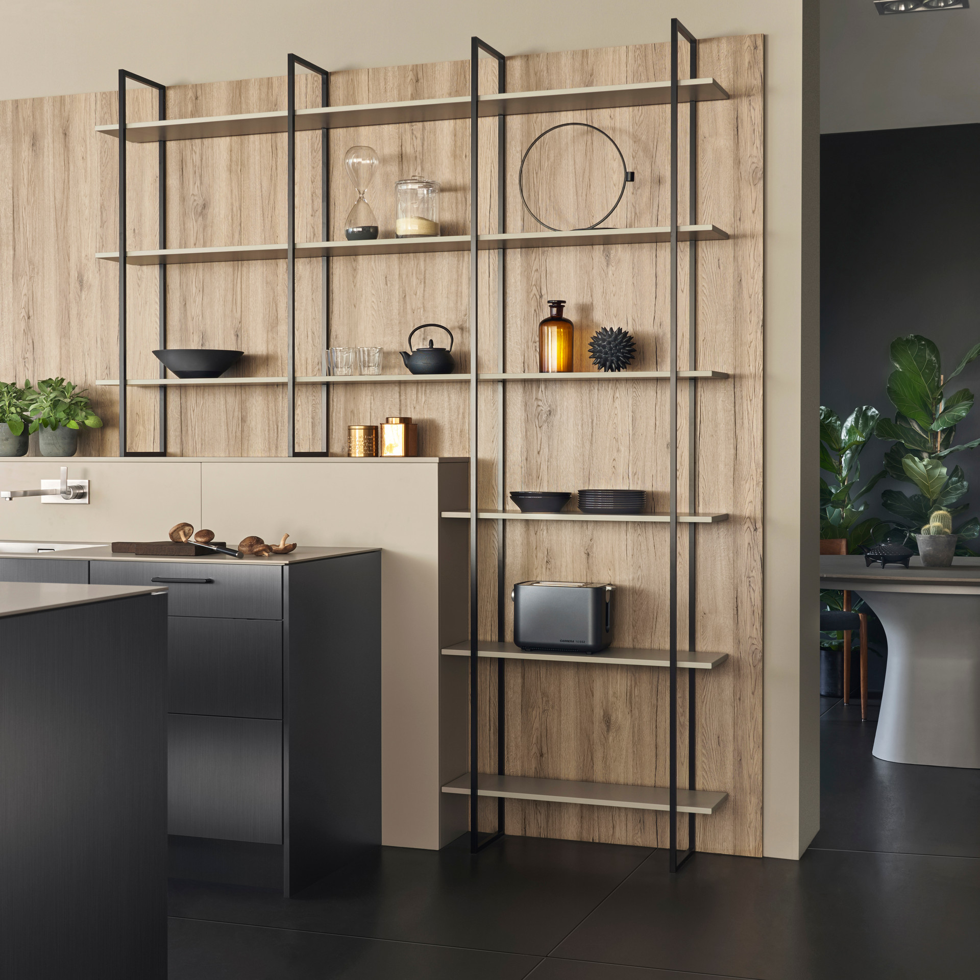 Leicht Metea metallic finish shelving system