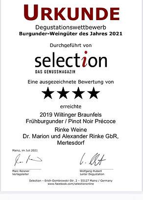 4 Sterne selection Genussmagazin - 2019er Wiltinger Braunfels Frühburgunder