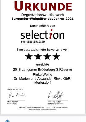 4 Sterne selection Genussmagazin - 2018er Langsurer Brüderberg S Réserve