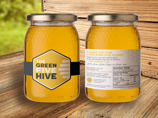 The Green Five Hive honey jar logo and stickers